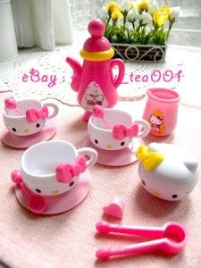 Sanrio Hello Kitty Miniature Tea Time Set Cup Teapot Plate Milk Pot Cooking Toy | eBay