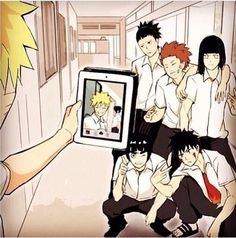 Naruto taking a picture of him and Sasuke when he was supposed to take a picture of Shikamaru Choji Lee Neji and Kiba OMFG I PMSL ❤️ this photo