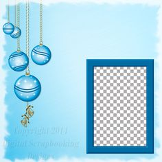 "Layout QP 18E.....Quick Page, Blue, Digital Scrapbooking, Christmas Time Collection, 12"" x 12"", 300 dpi, PNG File Format"