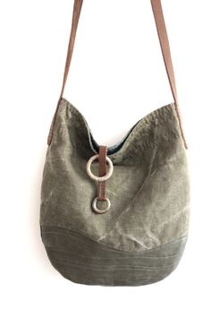 Vintage French Linen + Recycled + Eco Leather Cross Shoulder Bag Coudre Sac,  Sac Cuir bdcd0e4cd37