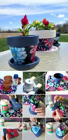 DIY Flower Pot Ideas Floral motives can be achieved by gluing colorful stickers and materials on the pot.Floral motives can be achieved by gluing colorful stickers and materials on the pot. Clay Pot Projects, Clay Pot Crafts, Shell Crafts, Paper Crafts, Painted Plant Pots, Painted Flower Pots, Flower Pot Design, Decorated Flower Pots, Flower Pot Crafts