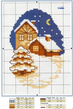 Lovely and simple Cross Stitch House, Xmas Cross Stitch, Cross Stitch Cards, Counted Cross Stitch Patterns, Cross Stitch Designs, Cross Stitching, Cross Stitch Embroidery, Diy Stockings, Halloween Cross Stitches