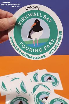 Clingy window stickers printed for Kirkwall Bay Touring Park based in Orkney, UK. The round cling car window stickers self cling to the insides of windows, design facing outwards through the glass, so you view the sticker from the outside. Our round car window stickers are supplied kiss cut to shape on oversized square backings, which you peel away from the backing prior to applying your cling sticker to the window. Car Window Stickers, Car Stickers, Rear Window, Custom Cars, Screen Printing, Shapes, Touring, Kiss, Prints