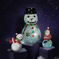 Avon Living Holly Jolly Glass Snowman Light Up | AVON