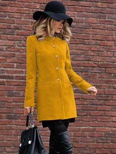 Palton stofa Ruslana Mustar • Chic Diva  realizat din stofa cu 20% lana - tine de cald usor de asortat 80cm lungime-casual il poti purta la orice Tweed, Winter Fashion, Fashion Dresses, Casual, Superhero, Clothes For Women, Chic, Jackets, Coats