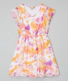 Speechless Pink & Ivory Flower Flutter Dress - Girls | zulily