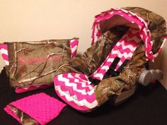 camo and pink chevron carseat cover