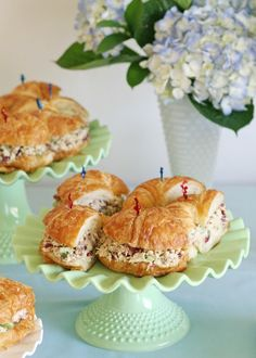 Glorious Treats: Vintage Bunting Baby Shower - chicken salad croissants