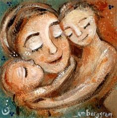 Guide Me - Mom embraced by two children print by Katie m. Berggren