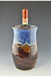 "Large Handmade Stoneware Wine Chiller 9"" x 5"" wide Ocean Blue Glaze"