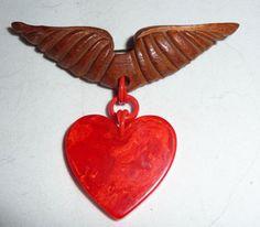 Bakelite Wood Wings Dangling Red Sweetheart Valentine Heart Charm Pin