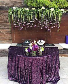 PURPLE // obsessed with last night's sweetheart table!  #MrandMrsBenak611  New York Plum Linen|  @latavolalinen  Florals | @theflowerstand  Venue | @seven4one