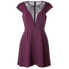 BCBG MAXAZRIA Lace inset mini dress (4 730 UAH) ❤ liked on Polyvore featuring dresses, bordeaux, purple cap sleeve dress, bcbgmaxazria dress, mini dress, short purple dresses and cap sleeve short dress