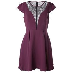 BCBG MAXAZRIA Lace inset mini dress (4 730 UAH) ❤ liked on Polyvore featuring dresses, bordeaux, purple cap sleeve dress, bcbgmaxazria dress, mini dress, short purple dresses and cap sleeve short dress