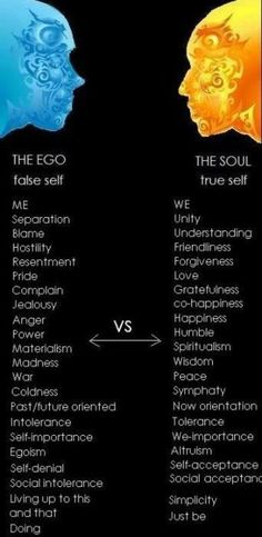 the ego vs the soul....I try to be soulful and try keeping my Ego at rest