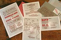 Oh So Beautiful Paper: Danielle + Greg's Vintage Cinema-Inspired Wedding Invitations