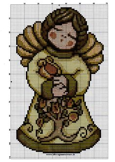 SCHEMA ANGELO THUN 2 Stitch And Angel, Cross Stitch Angels, Xmas Cross Stitch, Cross Stitch Charts, Cross Stitching, Cross Stitch Patterns, Minnie Baby, Little Cherubs, Cross Stitch Pictures