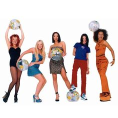 Iconic photoshoot of the girls holding inflatable world globes for the Spiceworld release