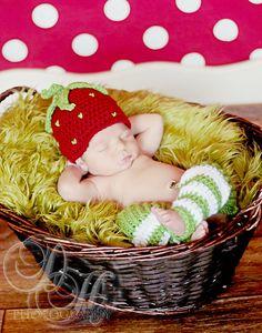 Crochet Newborn Strawberry Hat and Legwarmers, Crochet Newborn Photo Prop. $30.00, via Etsy.
