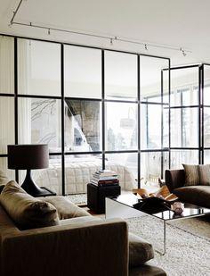 kuva Glass Partition, Villa, Work Surface, Modern Kitchen Design, Windows, Living Room, House, Furniture, Home Decor