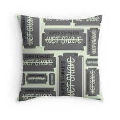 Wet Shave Razor Blade, throw pillow,  by piedaydesigns