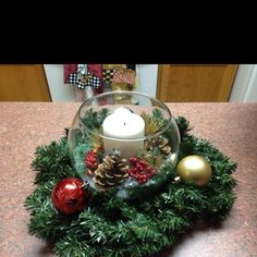 just and idea.maybe with more color and floating candles Christmas Flowers, Christmas Candles, Christmas Centerpieces, Christmas Wedding, Christmas Holidays, Christmas Bulbs, Christmas Crafts, Christmas Decorations, Holiday Decor