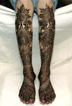 Bridal knee length mehendi or henna designs.