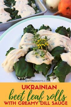 Ukrainian beet leaf rolls with creamy dill sauce will be your new vegetarian comfort food. It's an easy cabbage roll recipe stuffed with rice and baked into a delicious casserole--just like Mom used to make. Vegetarian Casserole, Vegetarian Comfort Food, Vegetarian Recipes, Cooking Recipes, Vegetarian Cabbage Rolls, Creamy Dill Sauce, Easy Cabbage Rolls, Cabbage Rolls Recipe, Recipes