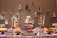Amazing dessert table display with purple