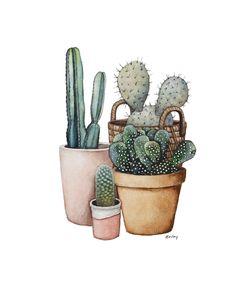 Cactus Print, Cactus Painting, Desert Artwork, Watercolor Cacti, Original Art Pr… – My CMS Cactus Drawing, Cactus Painting, Watercolor Cactus, Cactus Art, Cactus Flower, Cactus Plants, Watercolor Paintings, Indoor Cactus, Cactus Pics