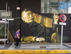 graffiti Don Benito Perez Galdós , Las Palmas de Gran Canaria, durante el proceso