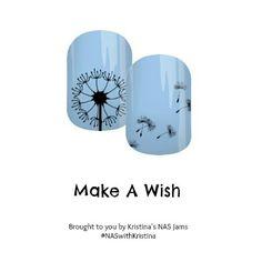 Make A Wish - Nail Art Studio Jamberry nail wraps #dandelion #flower #blue #nailart #jamberry
