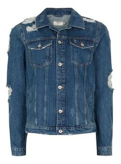 bf31a6ab6a49 DENIM. Blue Extreme Ripped Denim Jacket