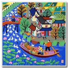 Jinshan Chinese Peasant Painting - I have a painting in this same style. Farmer Painting, Artist Painting, Album Design, Chinese Painting, Chinese Art, Laos, Art Populaire, Naive Art, Traditional Art
