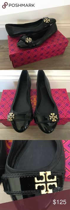 Authentic Tory Burch flats Authentic leather flats with a patent leather  toe in excellent condition.