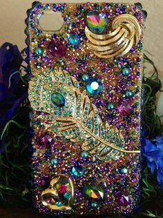 Cute bling 3d with pearls and rhinestones iphone case