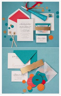 envelope liner, multi-colored confetti dots spilling out of envelopes, photographed on bold color backgrounds