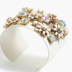 """J Crew Flower Stone Cuff Bracelet 2 3/4"""" with beautiful flowers and iridescent stones. Gorgeous and unique. New with box but not stored in dust bag due to potential color transfer. J. Crew Jewelry Bracelets"""