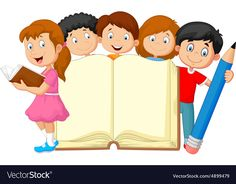Illustration about Illustration of Cartoon kids with book and pencil. Illustration of paper, handbook, cartoon - 50763442 Cartoon Drawing For Kids, Cartoon Kids, School Board Decoration, School Decorations, School Border, Boarders And Frames, School Coloring Pages, School Frame, Kids Background