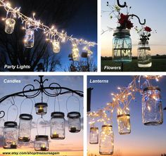 Fairy Lights Lanterns 6 DIY Ball Jar Wide Mouth Hangers, Twist On Mason Jar Hanging Lids, No Jars