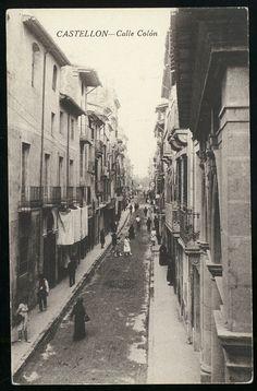 Calle Colón : Castellón. (s.a.) - Anónimo Valencia, Black And White, Home, History, Childhood Memories, Old Photography, Antique Photos, Fotografia, Blanco Y Negro