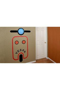 Wireless Blue Scooter Wall Sticker Lamp