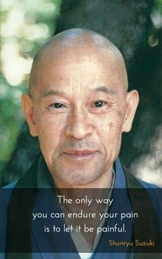 Shunryu Suzuki Roshi--a great teacher. Whatever your pain is, don't push it away, let it be.