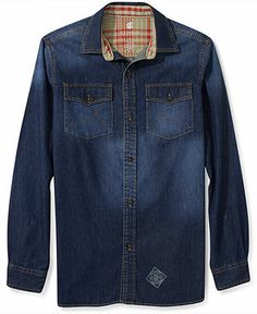 Rocawear Shirt, Denim Long Sleeve Shirt - Casual Button-Down Shirts - Men - Macy's