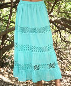 Look what I found on #zulily! Aqua Green Crochet Maxi Skirt by Ananda's Collection #zulilyfinds