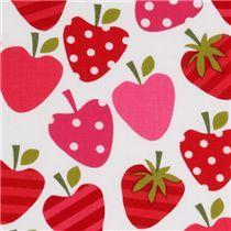 white heart-strawberries fabric by Robert Kaufman - Food Fabric - Fabric