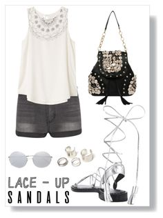"""Lace up!"" by chintyar ❤ liked on Polyvore featuring Linda Farrow, Cheap Monday, RVCA, contestentry, laceupsandals and PVStyleInsiderContest"