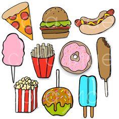 Carnival junk food clipart. 10 PNG files. Transparent