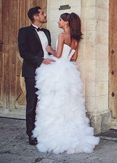 Ludivine Guillot - Robe de mariée sur mesure - Lyon - Bustier courte devant longue derrière mouchoirs tulle dentelle glamour chic