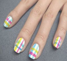 Love Nail Art - Nail Art Gallery by NAILS Magazine We love these nails! What fun nail art are you trying? Get Nails, Love Nails, Pretty Nails, Plaid Nail Art, Plaid Nails, Nail Art Blog, Nail Art Diy, Nail Art Inspiration, Line Nail Designs